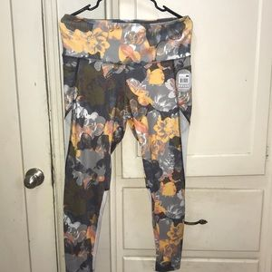 Bally Fitness Floral High Rise Gym Leggings Pocket